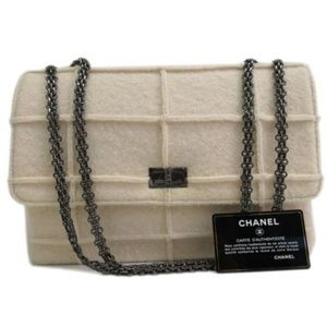 Chanel 2.55 Chain Reissue Bag Chocolate Bar Wool